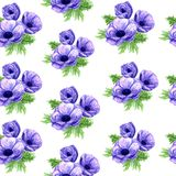 Watercolor anemone seamless pattern in raster format. royalty free illustration