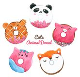 Watercolor Animal Donut Hand painted. Watercolor Animal Cute Donut for decorative and design, pattern , packaging royalty free illustration