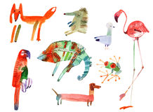 Watercolor animals set Stock Photography
