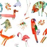 Watercolor animals set Royalty Free Stock Photo