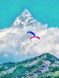 Watercolor. Annapurna mountain range. Pokhara, Nepal. Travel, to Royalty Free Stock Photos