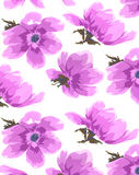 Watercolor antique hand painted flowers seamless wallpaper. Watercolor antique hand painted flowers on a textured linen ground seamless pattern Stock Image