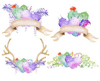 Watercolor antler and bouquet with succulent, cactus, and fern. Stock Photo