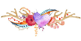 Free Watercolor Antler With Succulent, Cactus, Flower And Feather. Stock Photography - 81007232