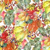 Watercolor fruit with berry and leaves. Seamless pattern on white background. Watercolor apple cherry berry background fruit handiwork design floral leaf royalty free illustration