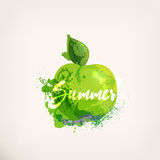 Watercolor apple with lettering. Watercolor green apple with lettering. Apples ink painting. Sweet fruit.Colloorful paint blots and stains. Hand drawn concept Stock Photography