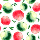 Watercolor apple seamless pattern. Royalty Free Stock Images