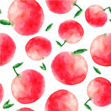 Watercolor apple seamless pattern. Royalty Free Stock Image