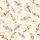 Watercolor apple slice seamless pattern Stock Photography