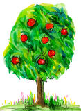 Watercolor apple tree. With green leaves and red apples Stock Photo