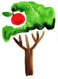 Watercolor apple tree impression painting. In white background Royalty Free Illustration