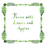 Watercolor apples and leaves vector frame naive style. With handwritten text Stock Photography