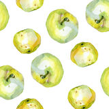 Watercolor apples pattern 1. Watercolor apples pattern on white 1 Royalty Free Stock Image