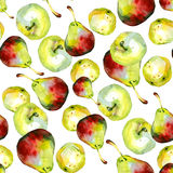 Watercolor apples pears pattern 1. Watercolor apples pears pattern on white 1 Stock Photo