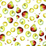 Watercolor apples pears pattern 2. Watercolor apples pears pattern on white 2 Stock Photography