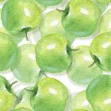 Watercolor apples, Seamless pattern Royalty Free Stock Photos
