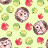 Watercolor apples, Seamless pattern with hedgehog Royalty Free Stock Image