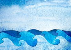 Watercolor applique seascape. Abstract hand drawn illustration. Sea applique from watercolor painted paper. Creative background Royalty Free Stock Image