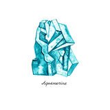 Watercolor Aquamarine Ημιπολύτιμο κρύσταλλο συρμένος εικονογράφος απεικόνισης χεριών ξυλάνθρακα βουρτσών ο σχέδιο όπως το βλέμμα  Στοκ Εικόνες