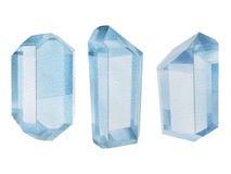 Watercolor aquamarine gemstones stock photos