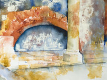 Watercolor or aquarel of a Roman bath Stock Photography