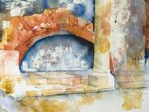 Watercolor or aquarel of a Roman bath vector illustration