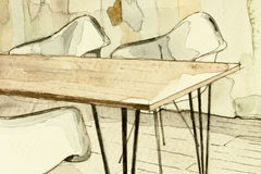 Watercolor aquarelle architectural sketch, showing in artistic way partial dining room table fragment Stock Images