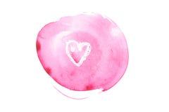 Watercolor aquarelle hand drawn color shape art paint splatter stain.  Royalty Free Stock Photos