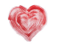 Watercolor aquarelle hand drawn colorful red heart Royalty Free Stock Image