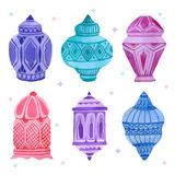 Watercolor arabic lamp set Royalty Free Stock Photos