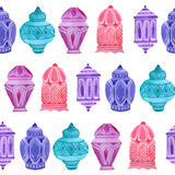 Watercolor arabic Ramadan seamless pattern. On white background vector illustration
