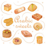 Watercolor arabic sweets Royalty Free Stock Photo