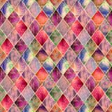 Argyle geometric abstract watercolor seamless pattern texture royalty free stock photos