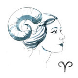 Watercolor aries girl Royalty Free Stock Images