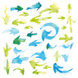 Watercolor arrows. Colorful watercolor arrows handwritten, with artistic blur, isolated on white background. Vector, EPS10 stock illustration