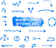 Watercolor arrows set, hand drawn Stock Photos