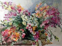 Watercolor art abstract background beautiful floral bouquet exotic flowers modern textured wet wash blurred fantasy. Art abstract background extruded in Stock Illustration