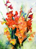 Watercolor art abstract background beautiful floral bouquet exotic gladiolus flowers modern textured wet wash blurred fantasy. Art abstract background extruded Vector Illustration