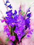 Watercolor art abstract background beautiful floral bouquet exotic gladiolus flowers modern textured wet wash blurred fantasy. Art abstract background extruded Royalty Free Illustration