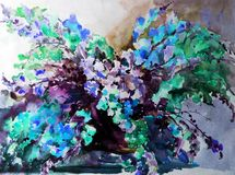 Watercolor art abstract background beautiful floral bouquet exotic iris flowers modern textured wet wash blurred fantasy. Art abstract background extruded in Royalty Free Illustration