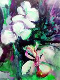 Watercolor art abstract background beautiful floral iris bouquet exotic iris flowers modern textured wet wash blurred fantasy. Art abstract background extruded Vector Illustration