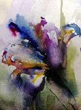 Watercolor art abstract background beautiful floral iris bouquet exotic iris flowers modern textured wet wash blurred fantasy. Art abstract background extruded Stock Illustration