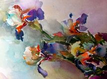 Watercolor art abstract background beautiful floral iris exotic flowers modern textured wet wash blurred fantasy. Art abstract background extruded in watercolor Stock Illustration