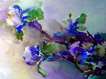 Watercolor art abstract background beautiful floral iris exotic flowers modern textured wet wash blurred fantasy. Art abstract background extruded in watercolor vector illustration