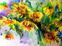 Watercolor art abstract background beautiful floral sunflowers modern textured wet wash blurred fantasy. Art abstract background extruded in watercolor. nature Stock Image