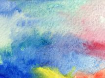 Watercolor art abstract background beautiful sky air sunrise modern textured wet wash blurred fantasy. Art abstract background extruded in watercolor. nature Stock Photo