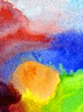 Watercolor art abstract background beautiful sun sunset clouds modern textured wet wash blurred fantasy. Art abstract background extruded in watercolor. nature royalty free stock image