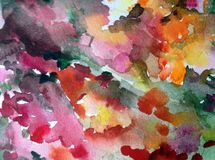 Watercolor abstract background floral pattern wildflowers meadow fiel bright blurred textured decoration hand beautiful wallpaper. Watercolor art abstract Stock Photo