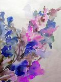 Watercolor abstract background floral pattern flowers blossom branch bright blurred texture decoration hand beautiful wallpaper. Watercolor art abstract royalty free illustration