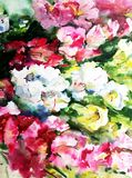Watercolor abstract background floral pattern flowers garden bright blurred textured decoration hand beautiful wallpaper. Watercolor art abstract background Royalty Free Stock Photos